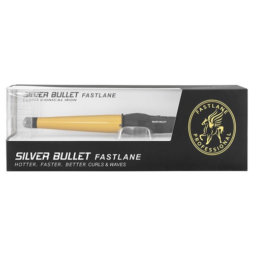 Silver Bullet Fastlane Large Ceramic Conical Curling Iron in Gold