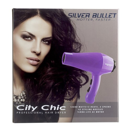 Silver bullet city chic hair dryer violet home hairdresser for Motor city beauty salon
