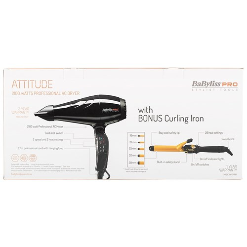 BaBylissPRO Attitude Hair Dryer and Curling Iron 32mm